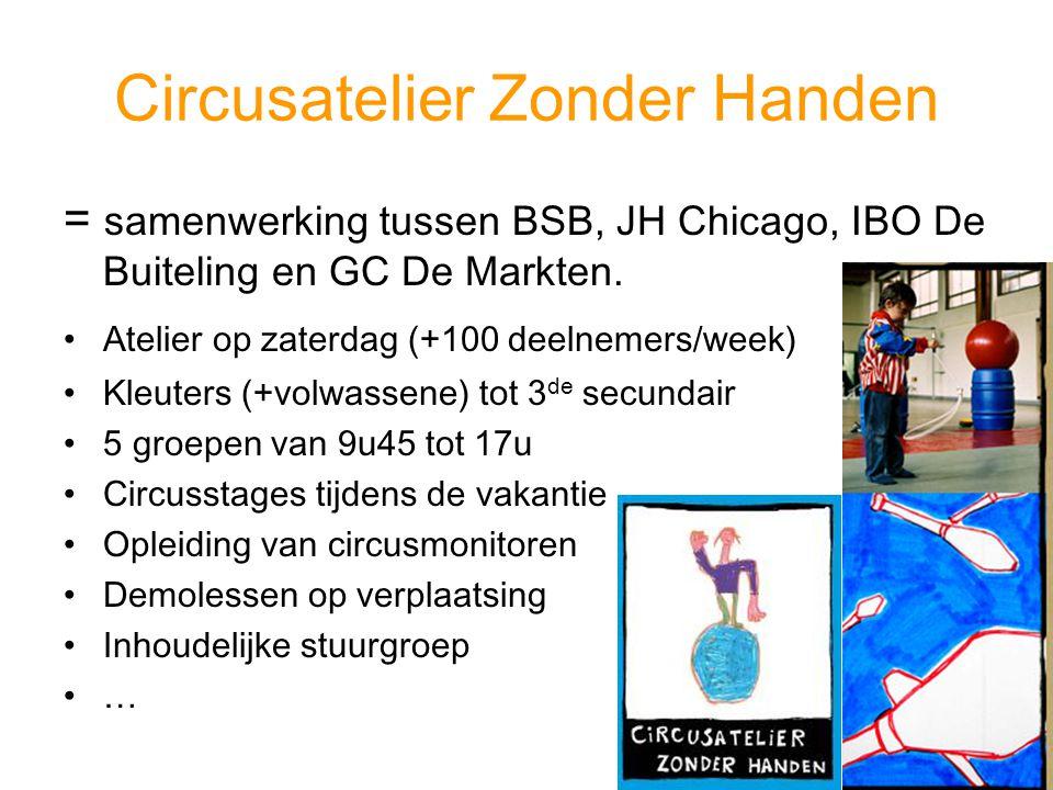 Circusatelier Zonder Handen = samenwerking tussen BSB, JH Chicago, IBO De Buiteling en GC De Markten. Atelier op zaterdag (+100 deelnemers/week) Kleut