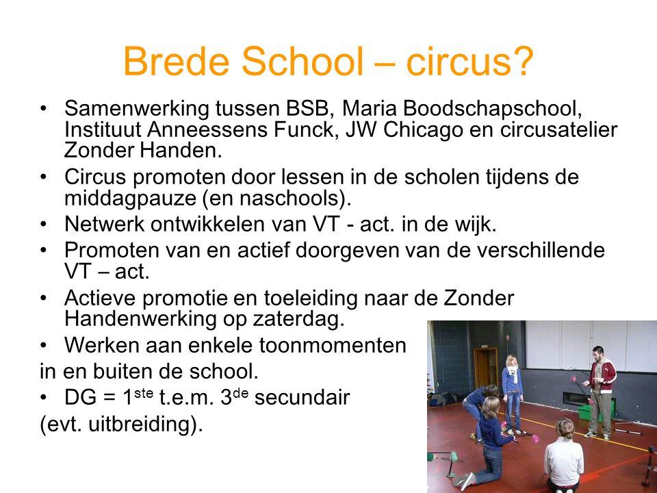 Brede School – circus? Samenwerking tussen BSB, Maria Boodschapschool, Instituut Anneessens Funck, JW Chicago en circusatelier Zonder Handen. Circus p