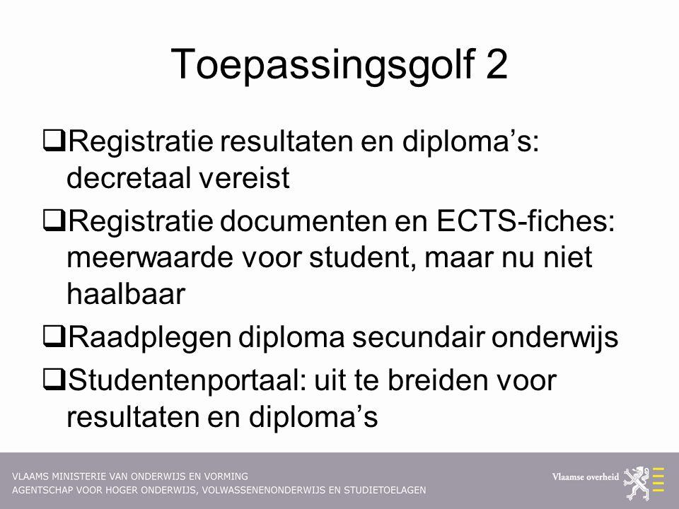 Toepassingsgolf 2  Registratie resultaten en diploma's: decretaal vereist  Registratie documenten en ECTS-fiches: meerwaarde voor student, maar nu n