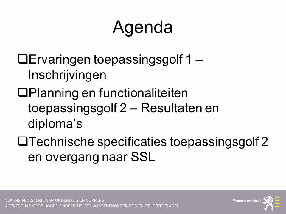 Agenda  Ervaringen toepassingsgolf 1 – Inschrijvingen  Planning en functionaliteiten toepassingsgolf 2 – Resultaten en diploma's  Technische specif