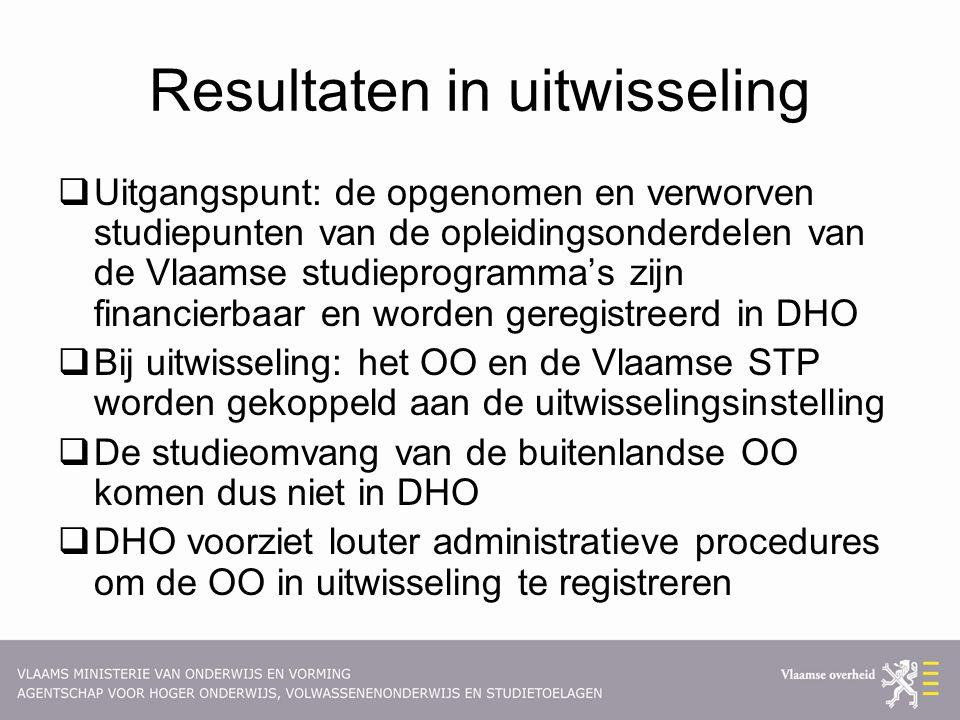 Resultaten in uitwisseling  Uitgangspunt: de opgenomen en verworven studiepunten van de opleidingsonderdelen van de Vlaamse studieprogramma's zijn fi