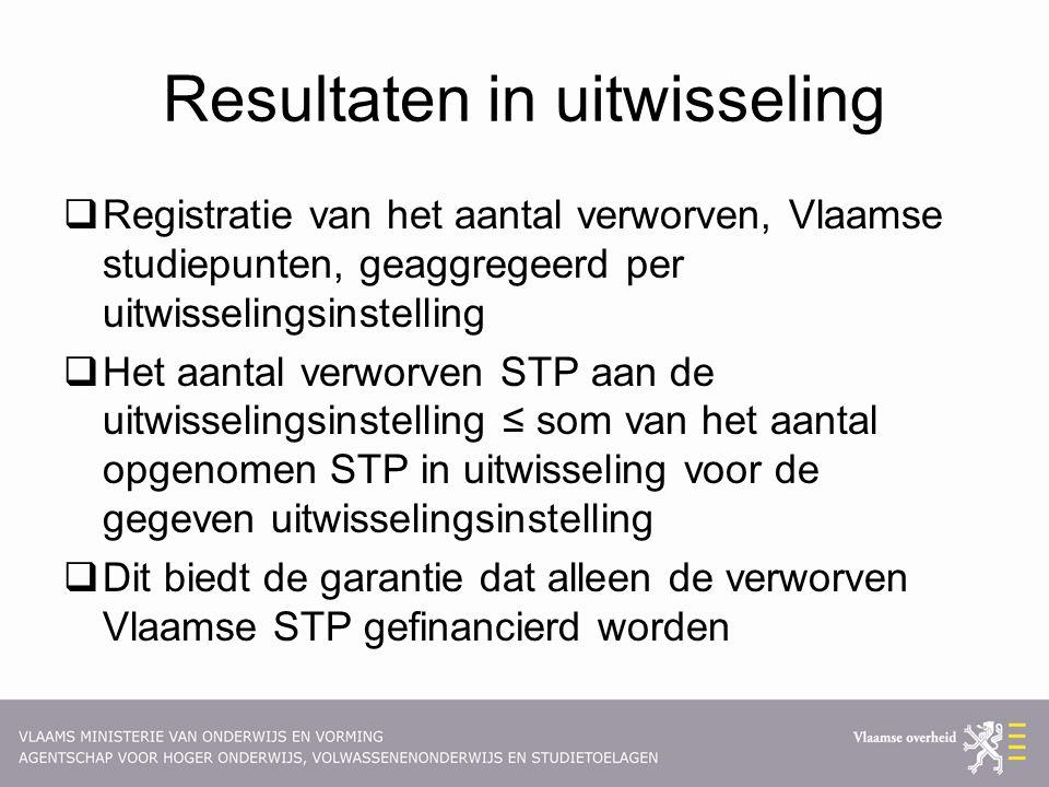 Resultaten in uitwisseling  Registratie van het aantal verworven, Vlaamse studiepunten, geaggregeerd per uitwisselingsinstelling  Het aantal verworv