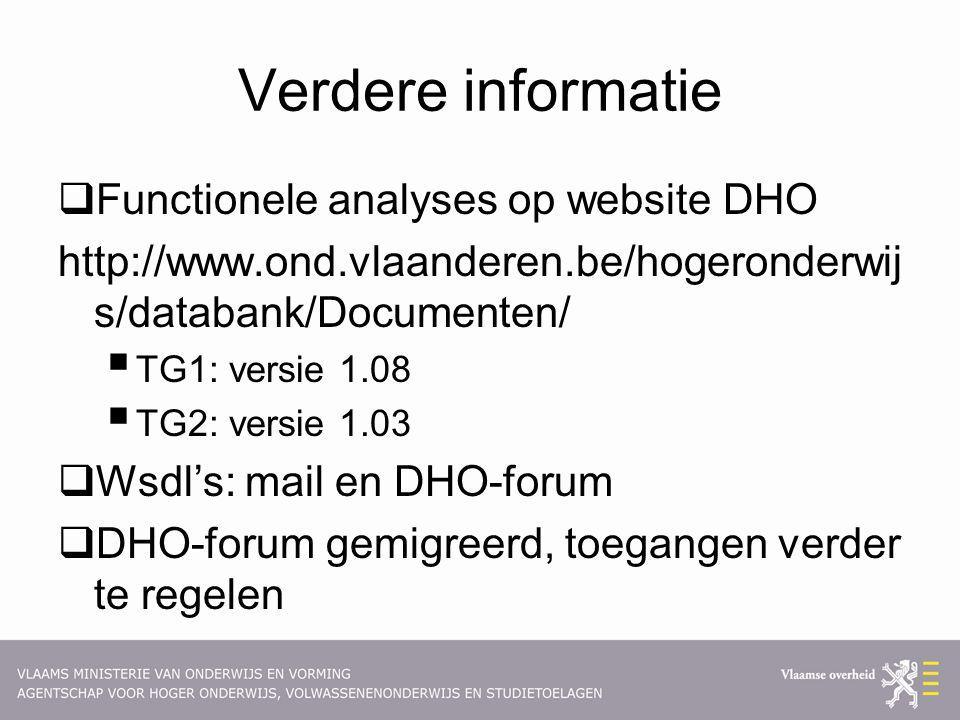 Verdere informatie  Functionele analyses op website DHO http://www.ond.vlaanderen.be/hogeronderwij s/databank/Documenten/  TG1: versie 1.08  TG2: v
