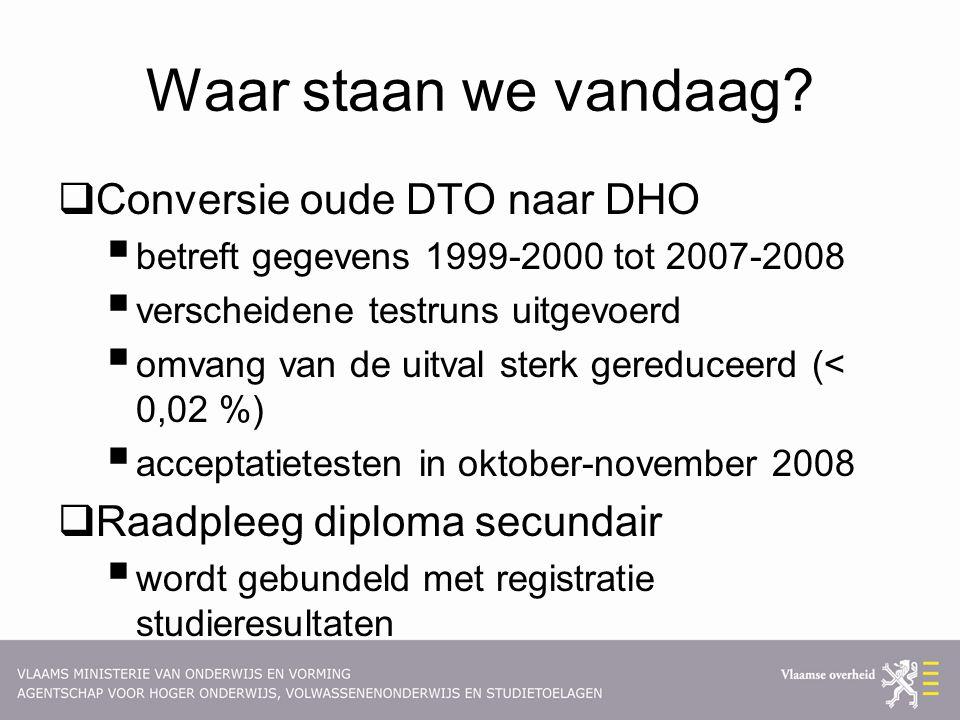 Waar staan we vandaag?  Conversie oude DTO naar DHO  betreft gegevens 1999-2000 tot 2007-2008  verscheidene testruns uitgevoerd  omvang van de uit