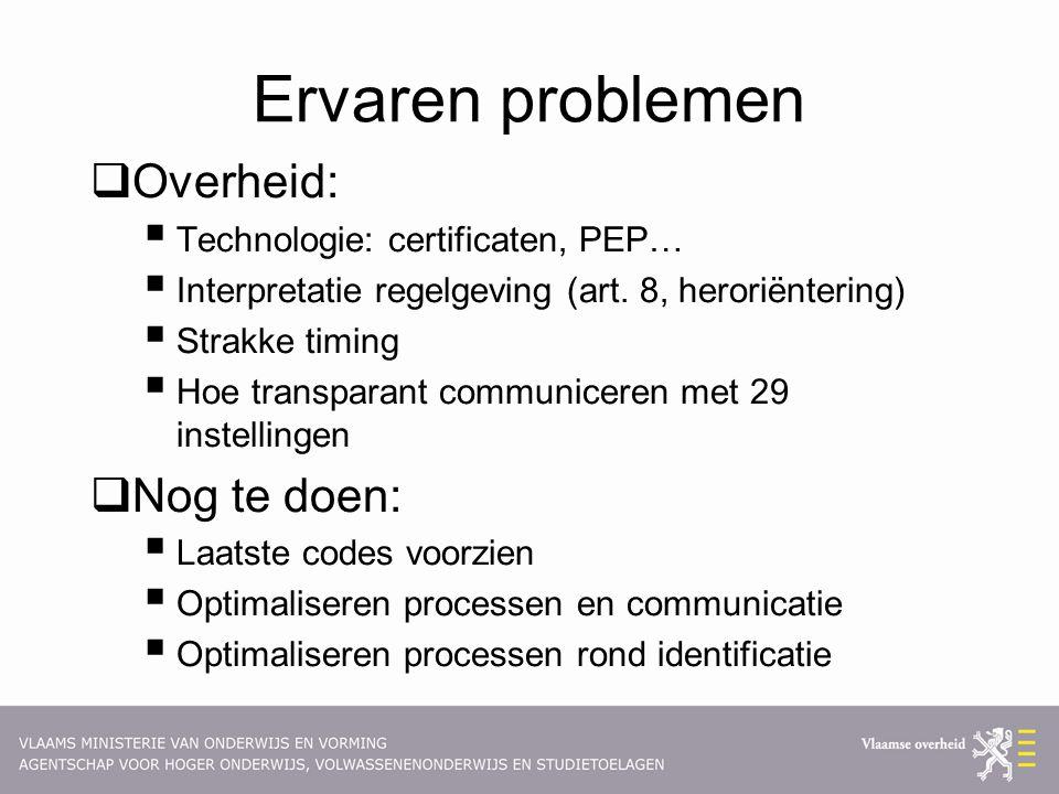 Ervaren problemen  Overheid:  Technologie: certificaten, PEP…  Interpretatie regelgeving (art. 8, heroriëntering)  Strakke timing  Hoe transparan