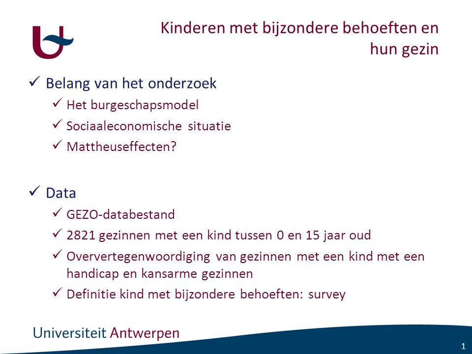 1 Kinderen met bijzondere behoeften en hun gezin Belang van het onderzoek Het burgeschapsmodel Sociaaleconomische situatie Mattheuseffecten.