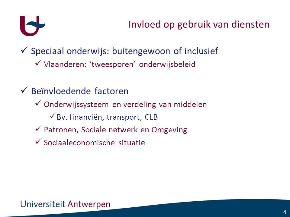 4 Invloed op gebruik van diensten Speciaal onderwijs: buitengewoon of inclusief Vlaanderen: 'tweesporen' onderwijsbeleid Beïnvloedende factoren Onderwijssysteem en verdeling van middelen Bv.