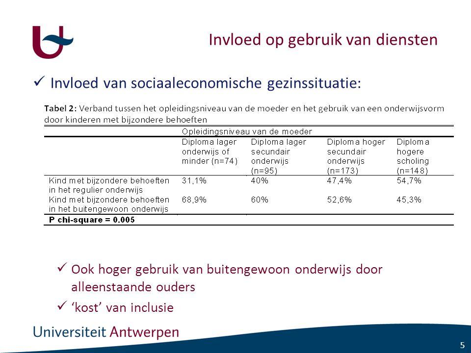 5 Invloed op gebruik van diensten Invloed van sociaaleconomische gezinssituatie: Ook hoger gebruik van buitengewoon onderwijs door alleenstaande ouders 'kost' van inclusie