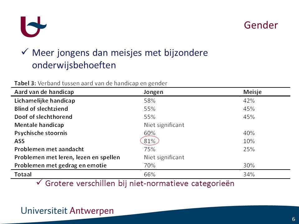 6 Gender Meer jongens dan meisjes met bijzondere onderwijsbehoeften Grotere verschillen bij niet-normatieve categorieën