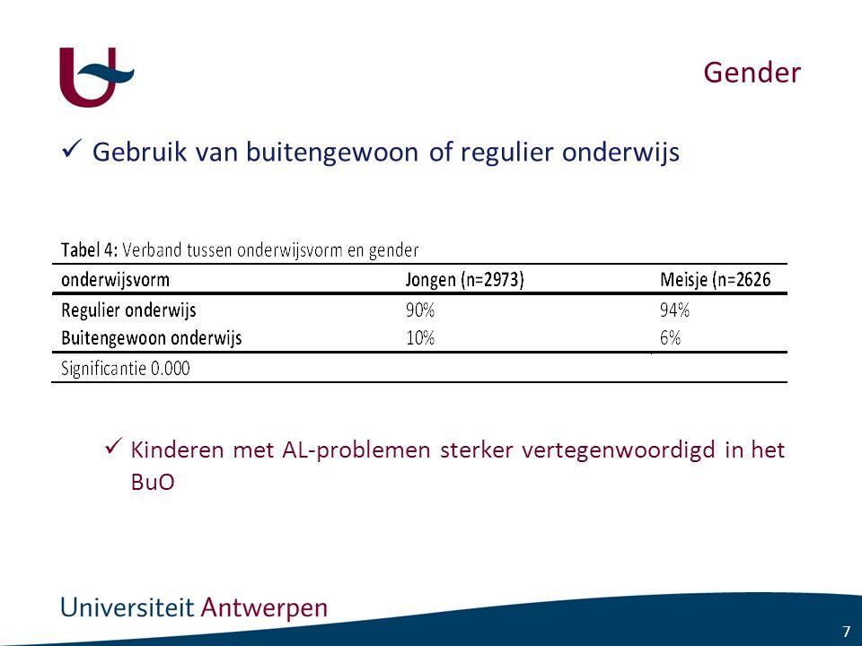 7 Gender Gebruik van buitengewoon of regulier onderwijs Kinderen met AL-problemen sterker vertegenwoordigd in het BuO