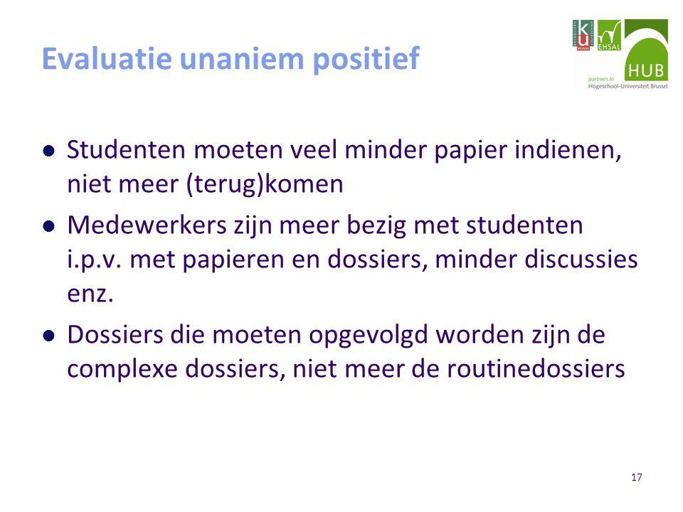 17 Evaluatie unaniem positief Studenten moeten veel minder papier indienen, niet meer (terug)komen Medewerkers zijn meer bezig met studenten i.p.v.
