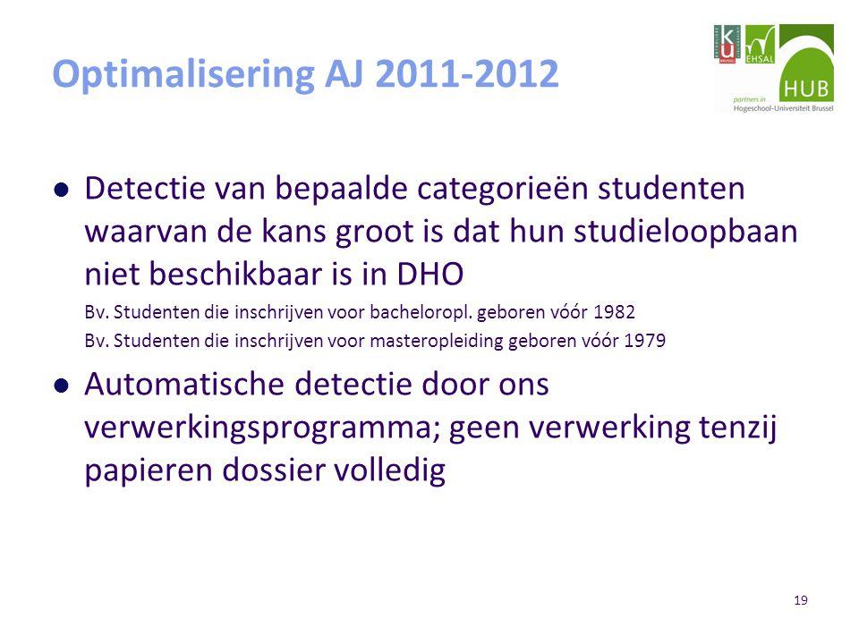 19 Optimalisering AJ 2011-2012 Detectie van bepaalde categorieën studenten waarvan de kans groot is dat hun studieloopbaan niet beschikbaar is in DHO Bv.