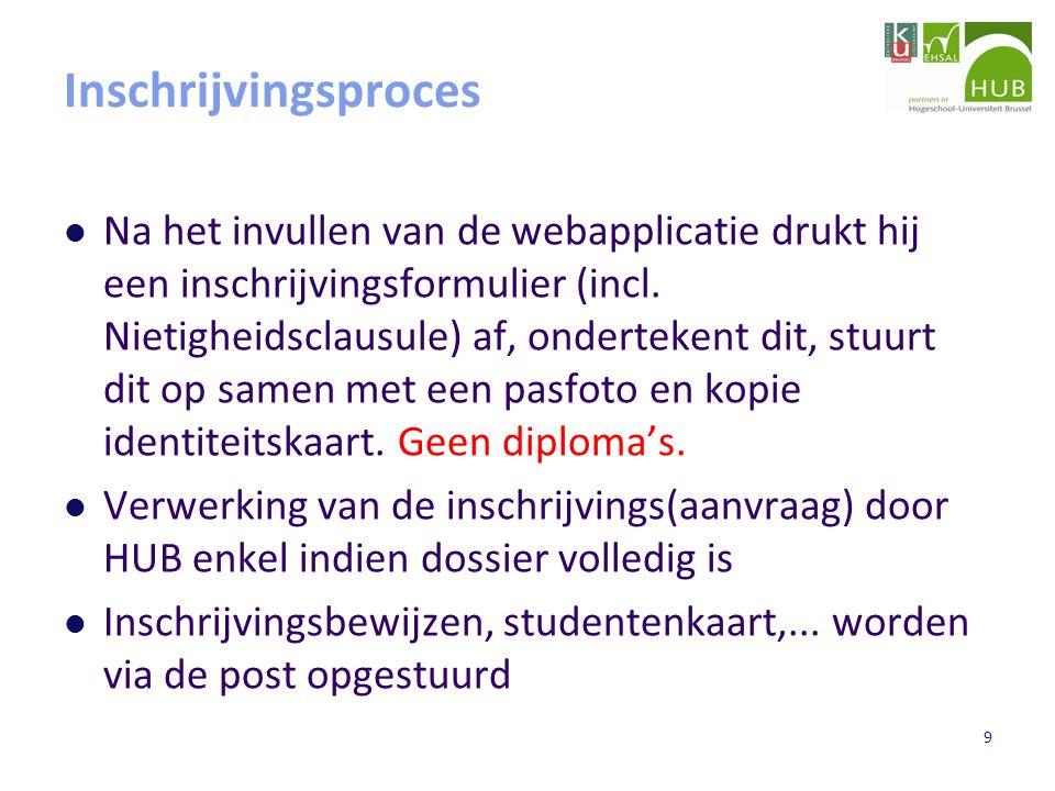 9 Inschrijvingsproces Na het invullen van de webapplicatie drukt hij een inschrijvingsformulier (incl.