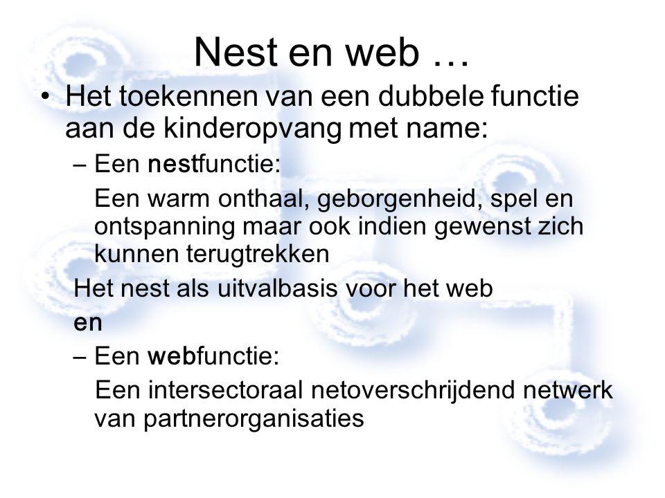 Nest en web … Het toekennen van een dubbele functie aan de kinderopvang met name: –Een nestfunctie: Een warm onthaal, geborgenheid, spel en ontspannin