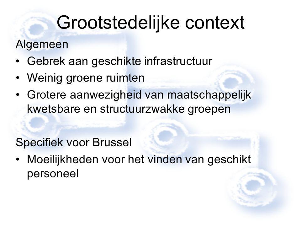 Grootstedelijke context Algemeen Gebrek aan geschikte infrastructuur Weinig groene ruimten Grotere aanwezigheid van maatschappelijk kwetsbare en struc