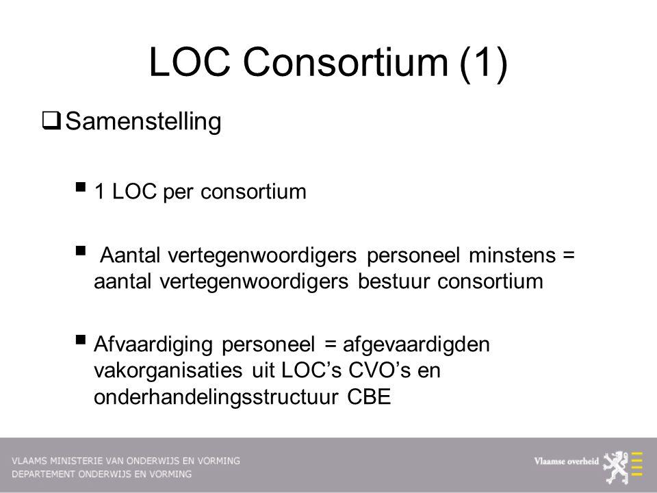 LOC Consortium (1)  Samenstelling  1 LOC per consortium  Aantal vertegenwoordigers personeel minstens = aantal vertegenwoordigers bestuur consortium  Afvaardiging personeel = afgevaardigden vakorganisaties uit LOC's CVO's en onderhandelingsstructuur CBE