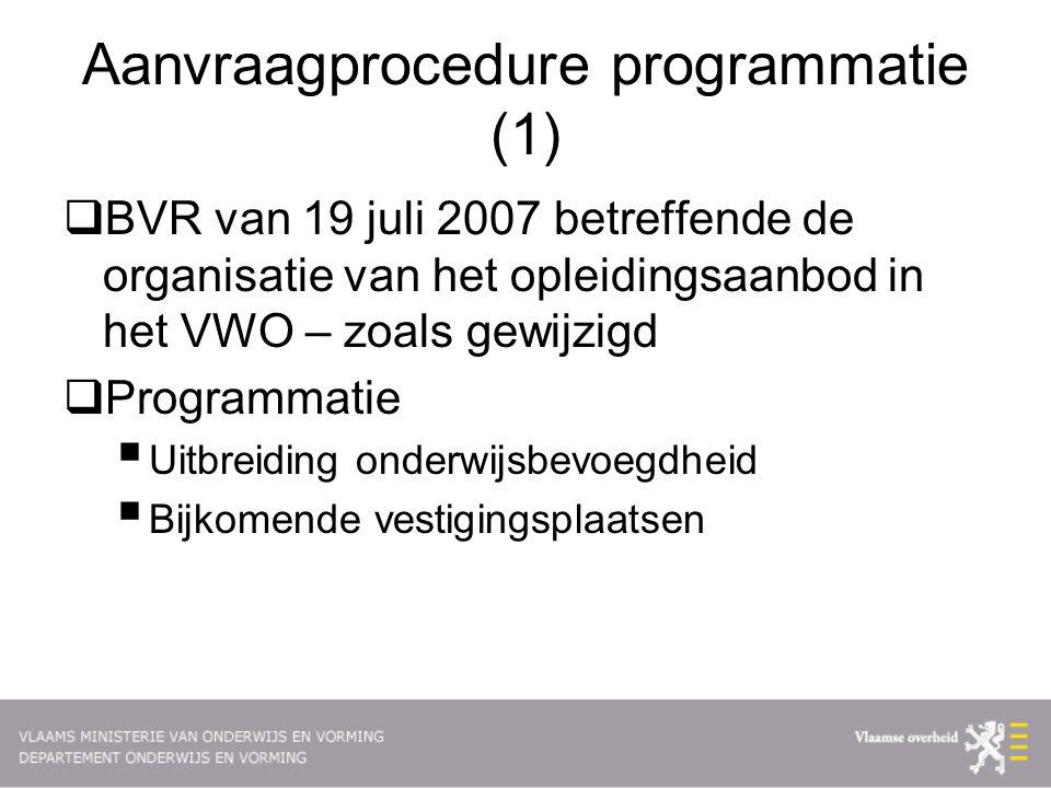 Aanvraagprocedure programmatie (1)  BVR van 19 juli 2007 betreffende de organisatie van het opleidingsaanbod in het VWO – zoals gewijzigd  Programmatie  Uitbreiding onderwijsbevoegdheid  Bijkomende vestigingsplaatsen