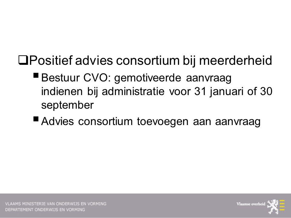  Positief advies consortium bij meerderheid  Bestuur CVO: gemotiveerde aanvraag indienen bij administratie voor 31 januari of 30 september  Advies consortium toevoegen aan aanvraag