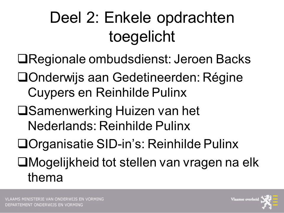 Deel 2: Enkele opdrachten toegelicht  Regionale ombudsdienst: Jeroen Backs  Onderwijs aan Gedetineerden: Régine Cuypers en Reinhilde Pulinx  Samenwerking Huizen van het Nederlands: Reinhilde Pulinx  Organisatie SID-in's: Reinhilde Pulinx  Mogelijkheid tot stellen van vragen na elk thema