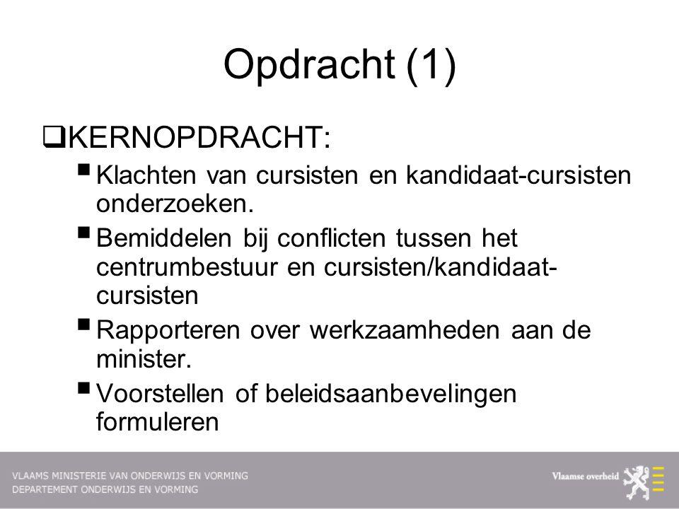 Opdracht (1)  KERNOPDRACHT:  Klachten van cursisten en kandidaat-cursisten onderzoeken.