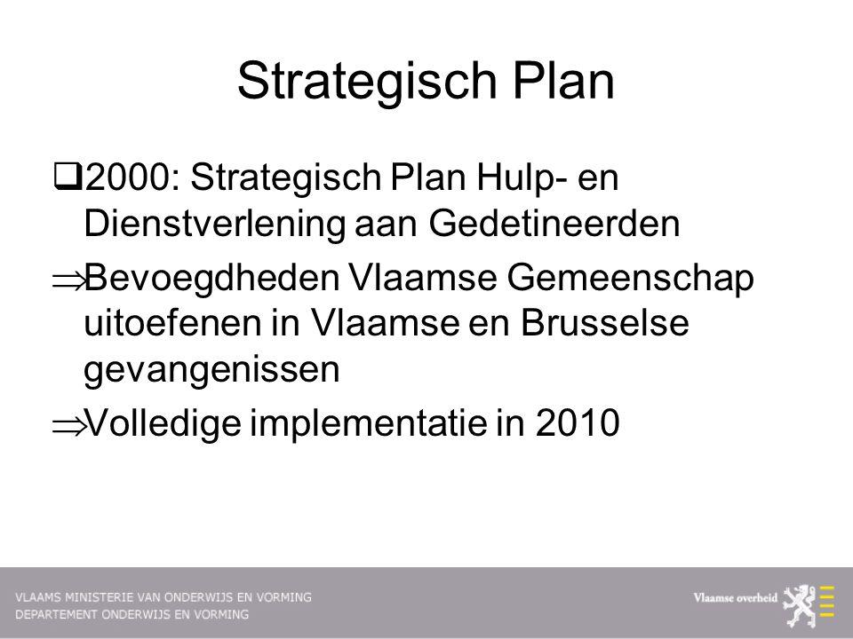 Strategisch Plan  2000: Strategisch Plan Hulp- en Dienstverlening aan Gedetineerden  Bevoegdheden Vlaamse Gemeenschap uitoefenen in Vlaamse en Brusselse gevangenissen  Volledige implementatie in 2010