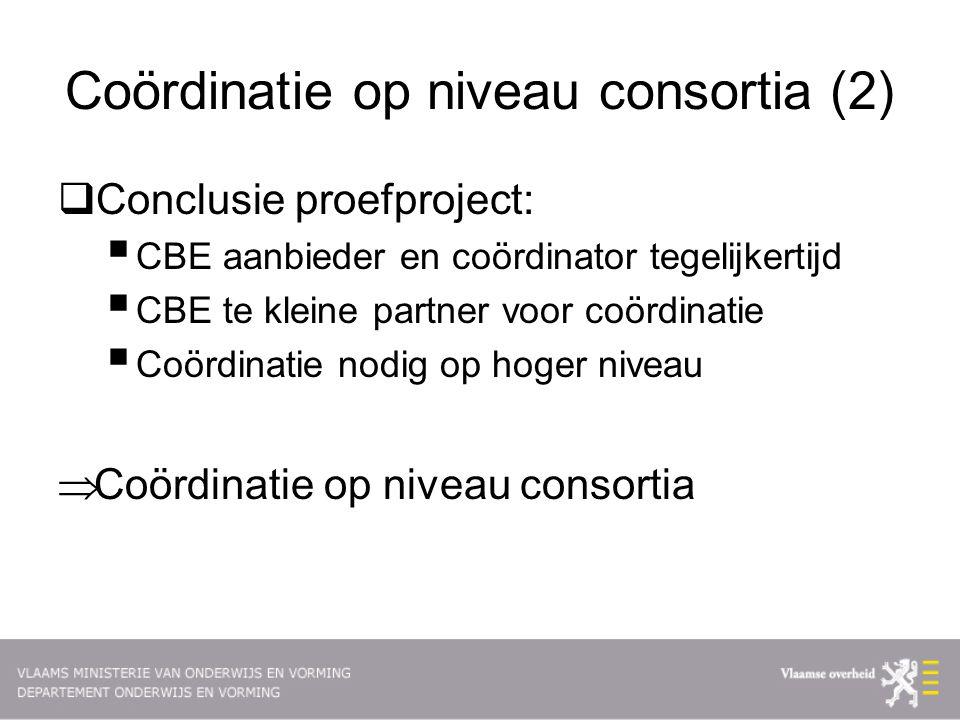 Coördinatie op niveau consortia (2)  Conclusie proefproject:  CBE aanbieder en coördinator tegelijkertijd  CBE te kleine partner voor coördinatie  Coördinatie nodig op hoger niveau  Coördinatie op niveau consortia