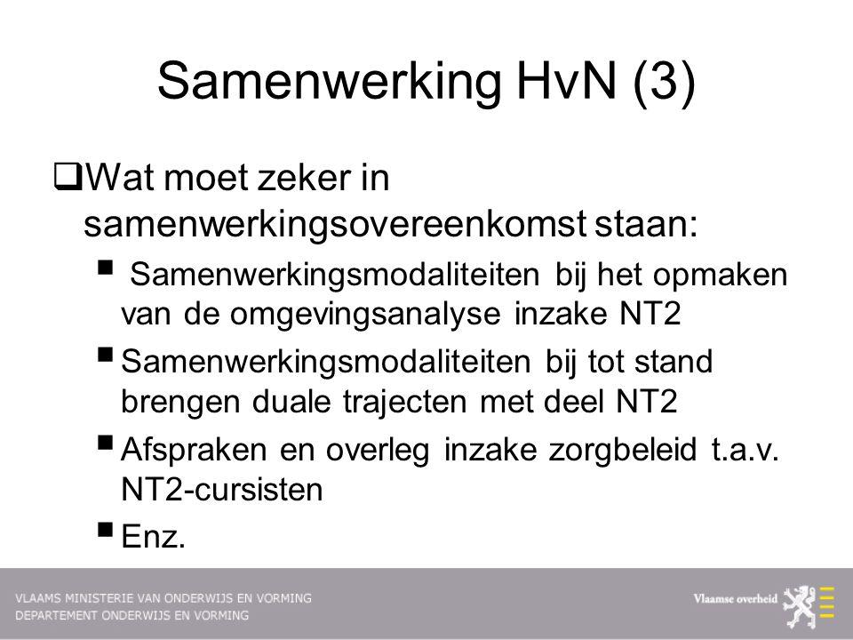 Samenwerking HvN (3)  Wat moet zeker in samenwerkingsovereenkomst staan:  Samenwerkingsmodaliteiten bij het opmaken van de omgevingsanalyse inzake NT2  Samenwerkingsmodaliteiten bij tot stand brengen duale trajecten met deel NT2  Afspraken en overleg inzake zorgbeleid t.a.v.