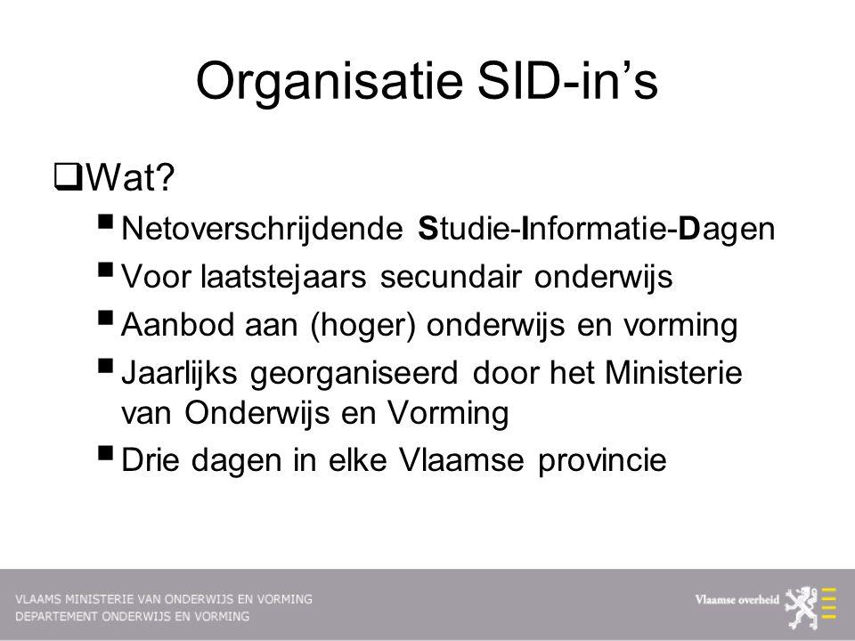 Organisatie SID-in's  Wat.