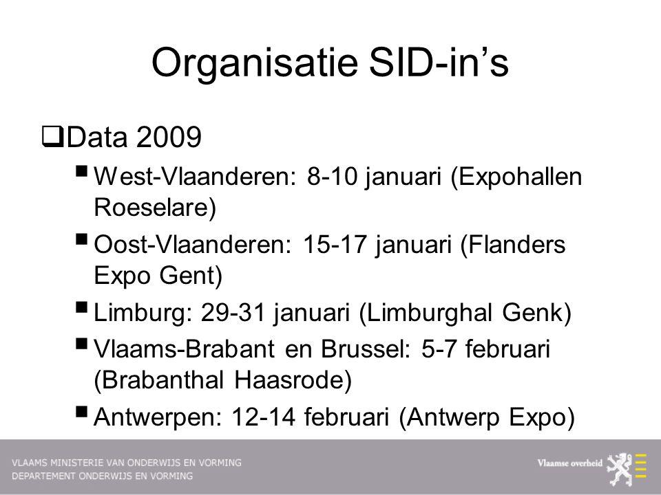 Organisatie SID-in's  Data 2009  West-Vlaanderen: 8-10 januari (Expohallen Roeselare)  Oost-Vlaanderen: 15-17 januari (Flanders Expo Gent)  Limburg: 29-31 januari (Limburghal Genk)  Vlaams-Brabant en Brussel: 5-7 februari (Brabanthal Haasrode)  Antwerpen: 12-14 februari (Antwerp Expo)
