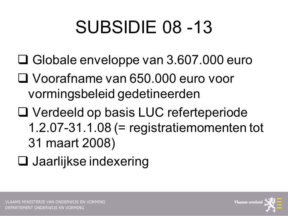 SUBSIDIE 08 -13  Globale enveloppe van 3.607.000 euro  Voorafname van 650.000 euro voor vormingsbeleid gedetineerden  Verdeeld op basis LUC referteperiode 1.2.07-31.1.08 (= registratiemomenten tot 31 maart 2008)  Jaarlijkse indexering