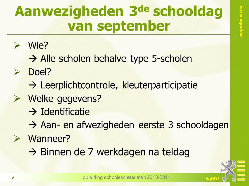 www.agodi.be AgODi opleiding schoolsecretariaten 2010-2011 5 Aanwezigheden 3 de schooldag van september  Wie.