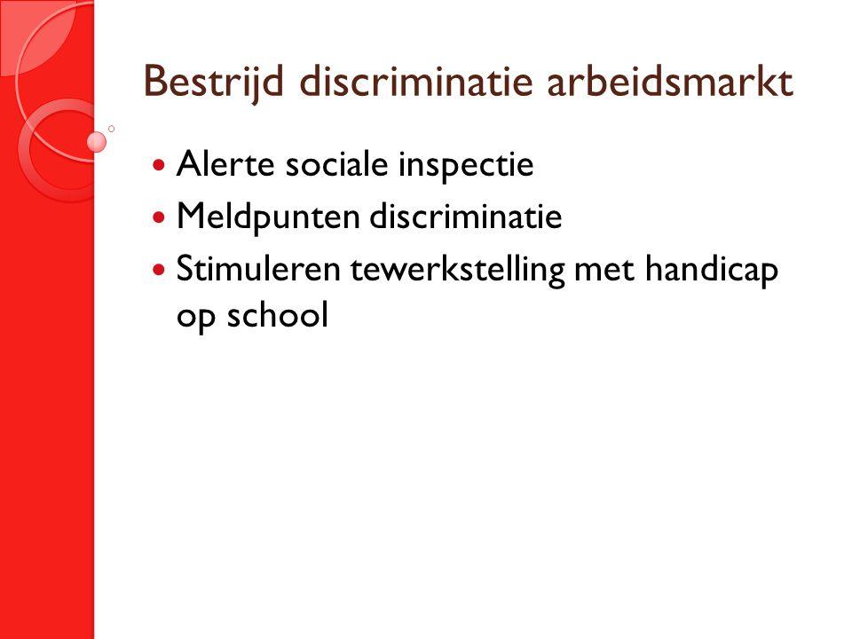Bestrijd discriminatie arbeidsmarkt Alerte sociale inspectie Meldpunten discriminatie Stimuleren tewerkstelling met handicap op school