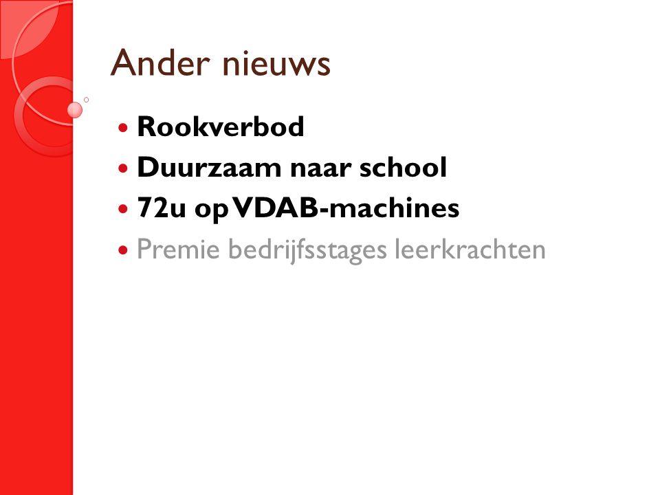 Ander nieuws Rookverbod Duurzaam naar school 72u op VDAB-machines Premie bedrijfsstages leerkrachten