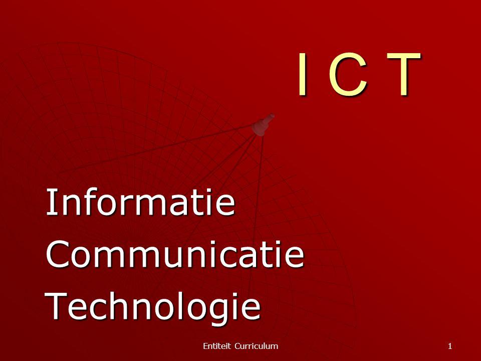 Entiteit Curriculum 2 TECHNOLOGIE  op te zoeken  op te slaan  te verwerken  te communiceren  voor te stellen om INFORMATIE  mogelijk te maken  te intensifiëren  te verrijken om COMMUNICATIE