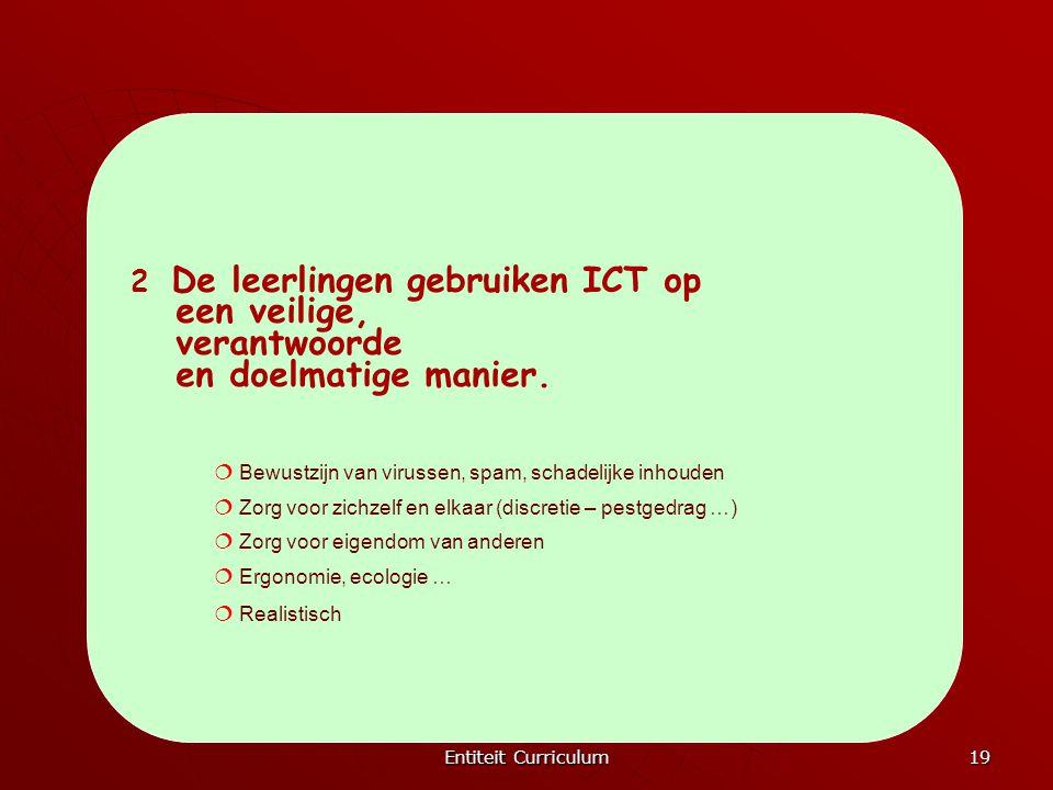 Entiteit Curriculum 19 2 De leerlingen gebruiken ICT op een veilige, verantwoorde en doelmatige manier.  Bewustzijn van virussen, spam, schadelijke i