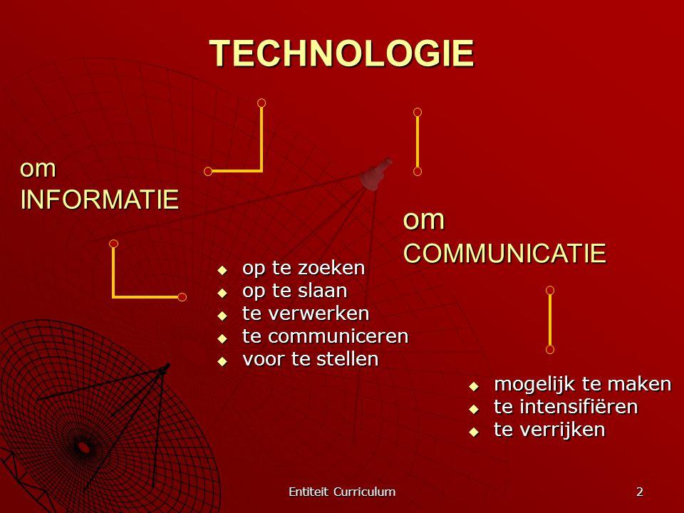 Entiteit Curriculum 2 TECHNOLOGIE  op te zoeken  op te slaan  te verwerken  te communiceren  voor te stellen om INFORMATIE  mogelijk te maken 
