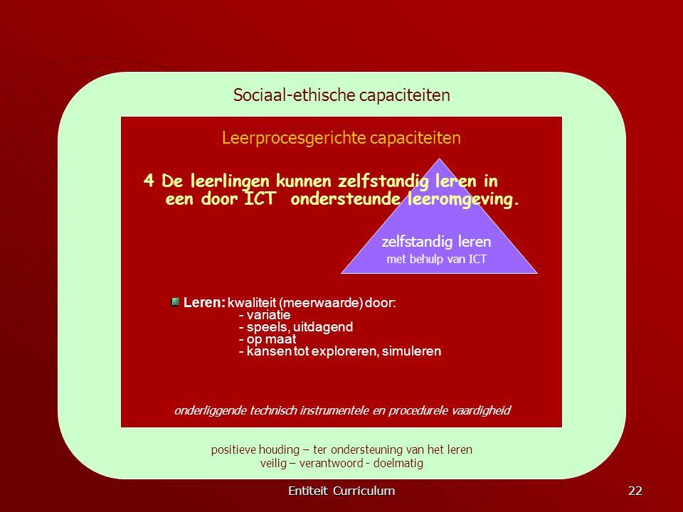 Entiteit Curriculum 22 Sociaal-ethische capaciteiten positieve houding – ter ondersteuning van het leren veilig – verantwoord - doelmatig Leerprocesge