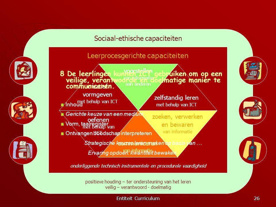 Entiteit Curriculum 26 Sociaal-ethische capaciteiten positieve houding – ter ondersteuning van het leren veilig – verantwoord - doelmatig Leerprocesge