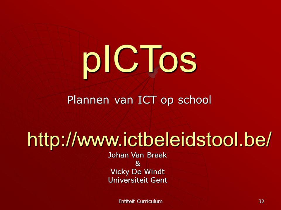 Entiteit Curriculum 32 pICTos Plannen van ICT op school Johan Van Braak & Vicky De Windt Universiteit Gent http://www.ictbeleidstool.be/