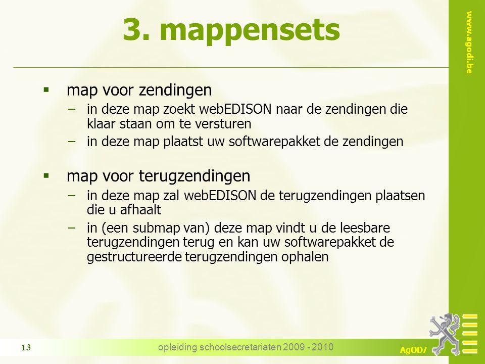 www.agodi.be AgODi opleiding schoolsecretariaten 2009 - 2010 13 3. mappensets  map voor zendingen −in deze map zoekt webEDISON naar de zendingen die