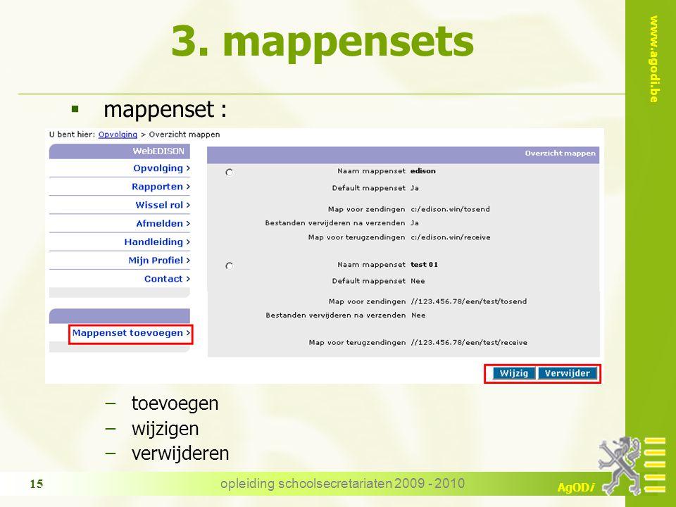 www.agodi.be AgODi opleiding schoolsecretariaten 2009 - 2010 15 3. mappensets  mappenset : −toevoegen −wijzigen −verwijderen