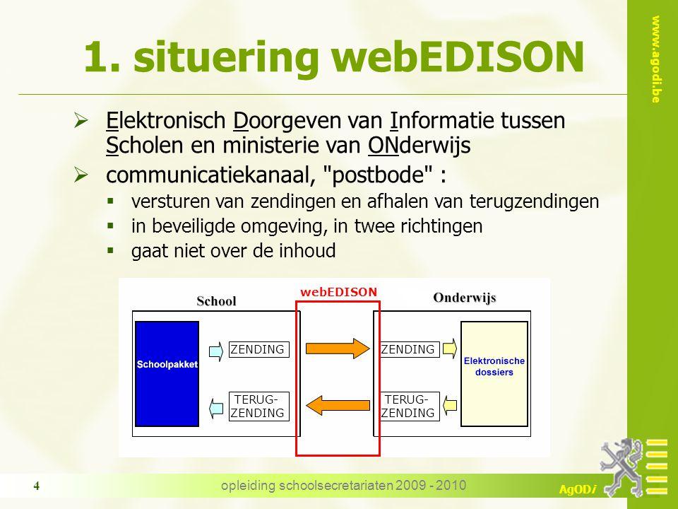 www.agodi.be AgODi opleiding schoolsecretariaten 2009 - 2010 4  Elektronisch Doorgeven van Informatie tussen Scholen en ministerie van ONderwijs  co