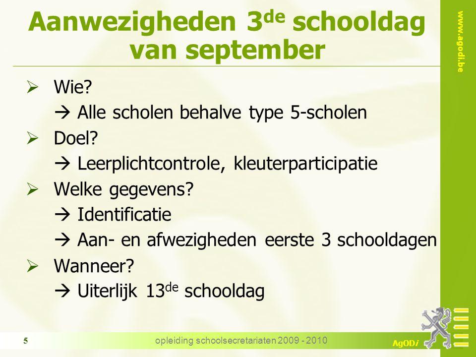 www.agodi.be AgODi opleiding schoolsecretariaten 2009 - 2010 5 Aanwezigheden 3 de schooldag van september  Wie.