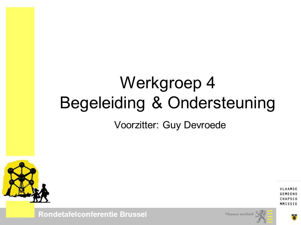Rondetafelconferentie Brussel Werkgroep 4 Begeleiding & Ondersteuning Voorzitter: Guy Devroede