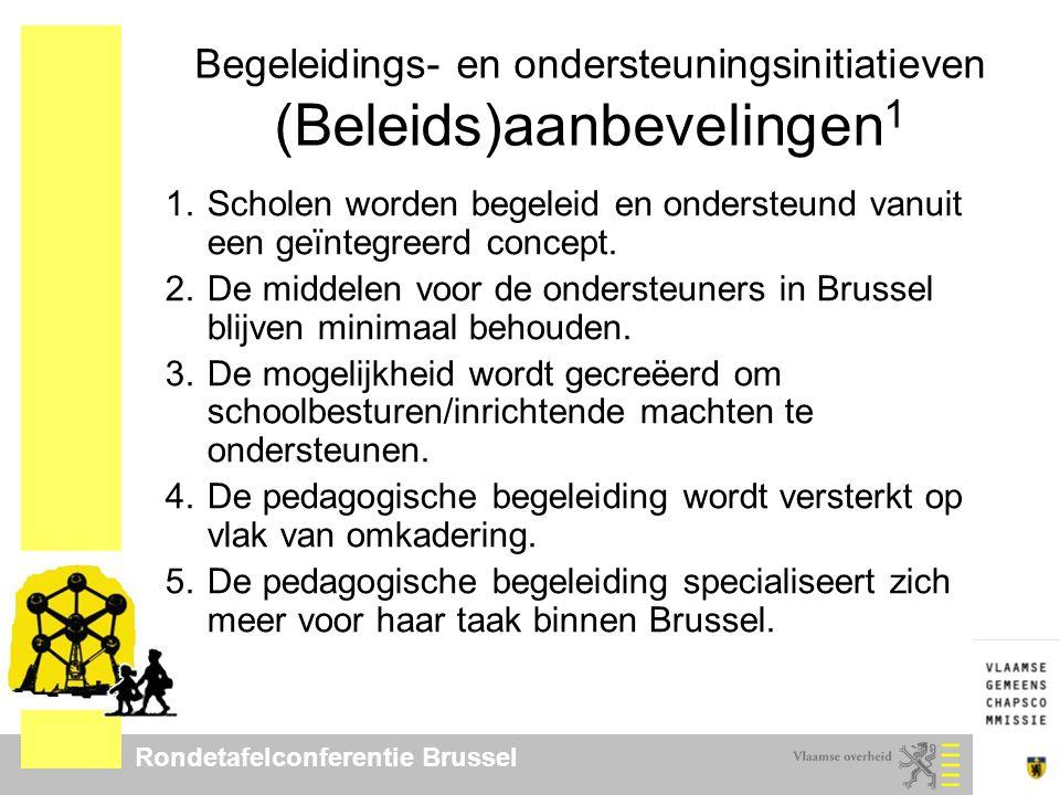 Rondetafelconferentie Brussel Begeleidings- en ondersteuningsinitiatieven (Beleids)aanbevelingen 1 1.Scholen worden begeleid en ondersteund vanuit een geïntegreerd concept.