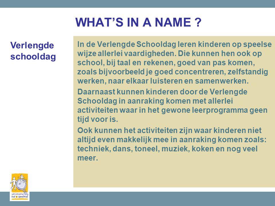 WHAT'S IN A NAME . In de Verlengde Schooldag leren kinderen op speelse wijze allerlei vaardigheden.