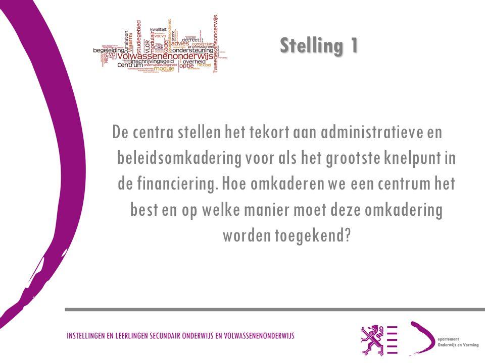 Stelling 1 De centra stellen het tekort aan administratieve en beleidsomkadering voor als het grootste knelpunt in de financiering. Hoe omkaderen we e