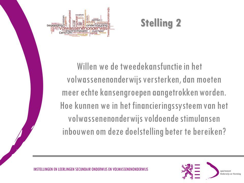 Stelling 2 Willen we de tweedekansfunctie in het volwassenenonderwijs versterken, dan moeten meer echte kansengroepen aangetrokken worden.