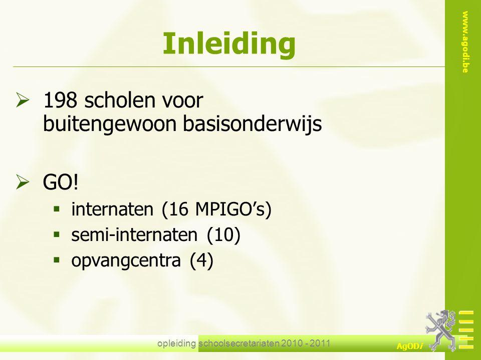 www.agodi.be AgODi opleiding schoolsecretariaten 2010 - 2011 Inleiding  198 scholen voor buitengewoon basisonderwijs  GO!  internaten (16 MPIGO's)