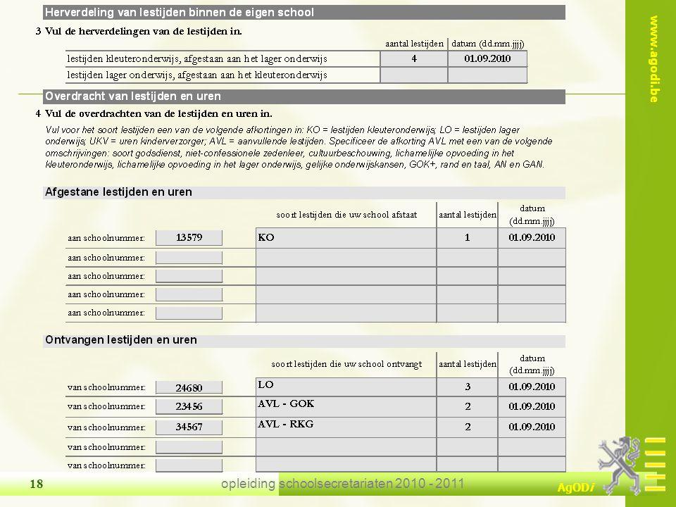 www.agodi.be AgODi opleiding schoolsecretariaten 2010 - 2011 18